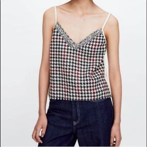 NWT Zara houndstooth camisole tank faux suede back